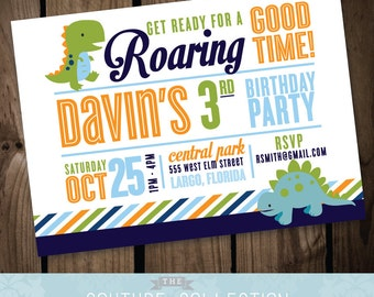 Dinosaur Birthday INVITATION  - Cute Dinosaur Boy Birthday Party Stripes Modern Preppy and Fun Printable DIY Digital Invitation File