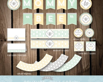"""SALE! - Shower DECOR Package Mommy to """"Bee"""" Baby Shower Stylish Decoration Party Printable DIY Digital File Instant Download"""
