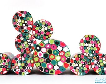SALE - Red, pink, green and teal, Black and white polymer clay round cane , raw and unbaked millefiori Retro Dots Fimo cane by Ronit Golan