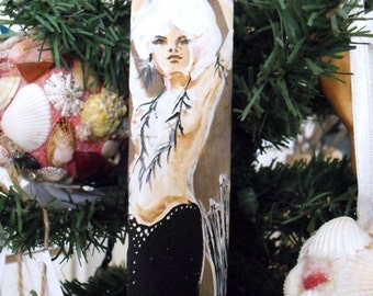 Holiday Ornament- Mermaid Wood Ornament- Hand Painted On Recycled Drift Wood