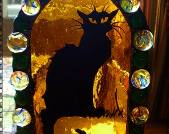 Gothic Large Halloween Black Cat Painted Stained Glass Candle Holder