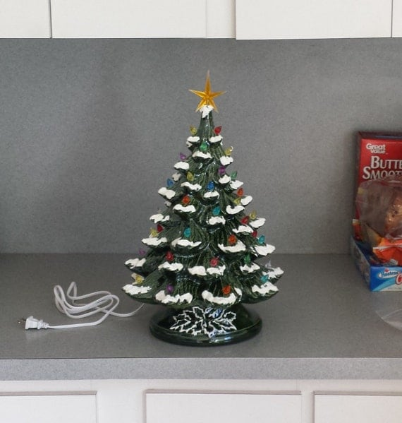 Traditional Old Fashioned Large lighted Ceramic Christmas Tree with Snow ......18 inches Tall