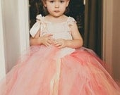 Coral Melon Blush - Flower Girl tulle skirt in Coral, Pink, Ivory, and Peach -Sewn long length tutu skirt - custom made for weddings