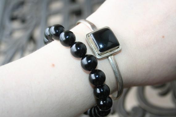 Sale Vintage  Bracelet  Cuff Sterling Silver  ,Onyx ,Very Modern  Style