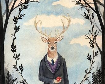 8x10 PRINT - Deer Man, Dark trees, Leaf Framing, Art Illustration, Watercolor Painting, Victorian Gentleman