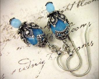 Aqua Earrings, Tudor Jewelry, Marie Antoinette, French, Medieval, Renaissance Bridal Earrings, Costume, Victorian, Garb, Rhiannon
