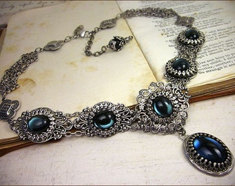 Navy Renaissance Necklace, Deep Blue Bridal Jewelry, Wedding, Bridesmaid Jewelry, Marie Antoinette Costume, Lucia