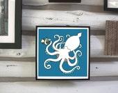 Kraken print. Nursery Art. Childrens Room Decor.
