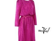 1980s Pink Rose Day Dress - Shiny Vintage Fuchsia Shimmer - size Small / Medium