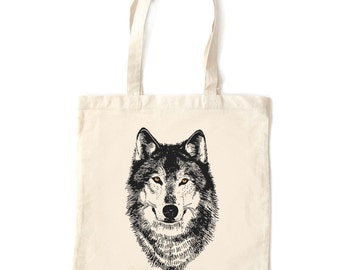 Wolf tote bag, wolf face Woodland tote bag wolf art natural unbleached cotton eco friendly washable reusable winter werewolf woodland design