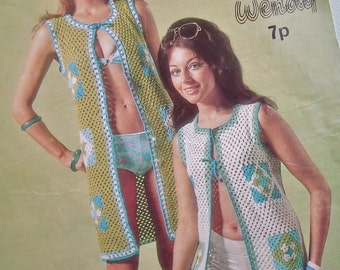 Vintage 1970s Crochet Pattern - Women's Beach Coats Gilets Long Waistcoats Granny Squares - 70s original pattern Wendy No. 1170 UK