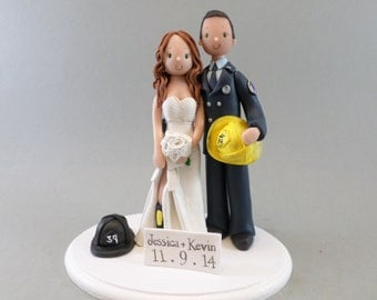 Firefighter Couple Customized Wedding Cake Topper