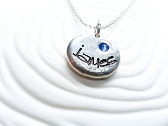Mother s birthstone name necklace hand stamped personalized custom