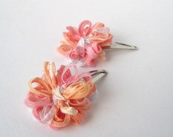 Flower Hair Clips, peach melba, pink