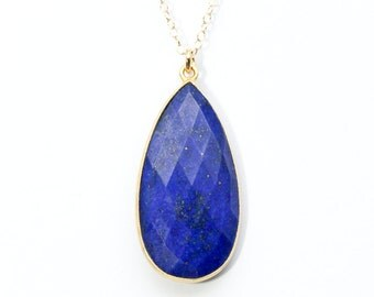 Lapis lazuli necklace - Lapis lazuli jewelry - lapis necklace - lapis jewelry - long gold necklace - gold jewelry - deep blue stone necklace