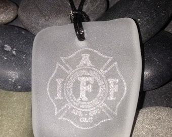 White IAFF Seaglass Necklace