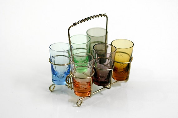 Mid Century Jewel Tone Blown Glass Shot Glasses with Caddy