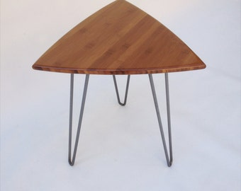 Quick Ship! Guitar Pick Side Table Mid Century Modern Triangle Shaped End Table -  New In Caramelized Bamboo with Hairpin Legs
