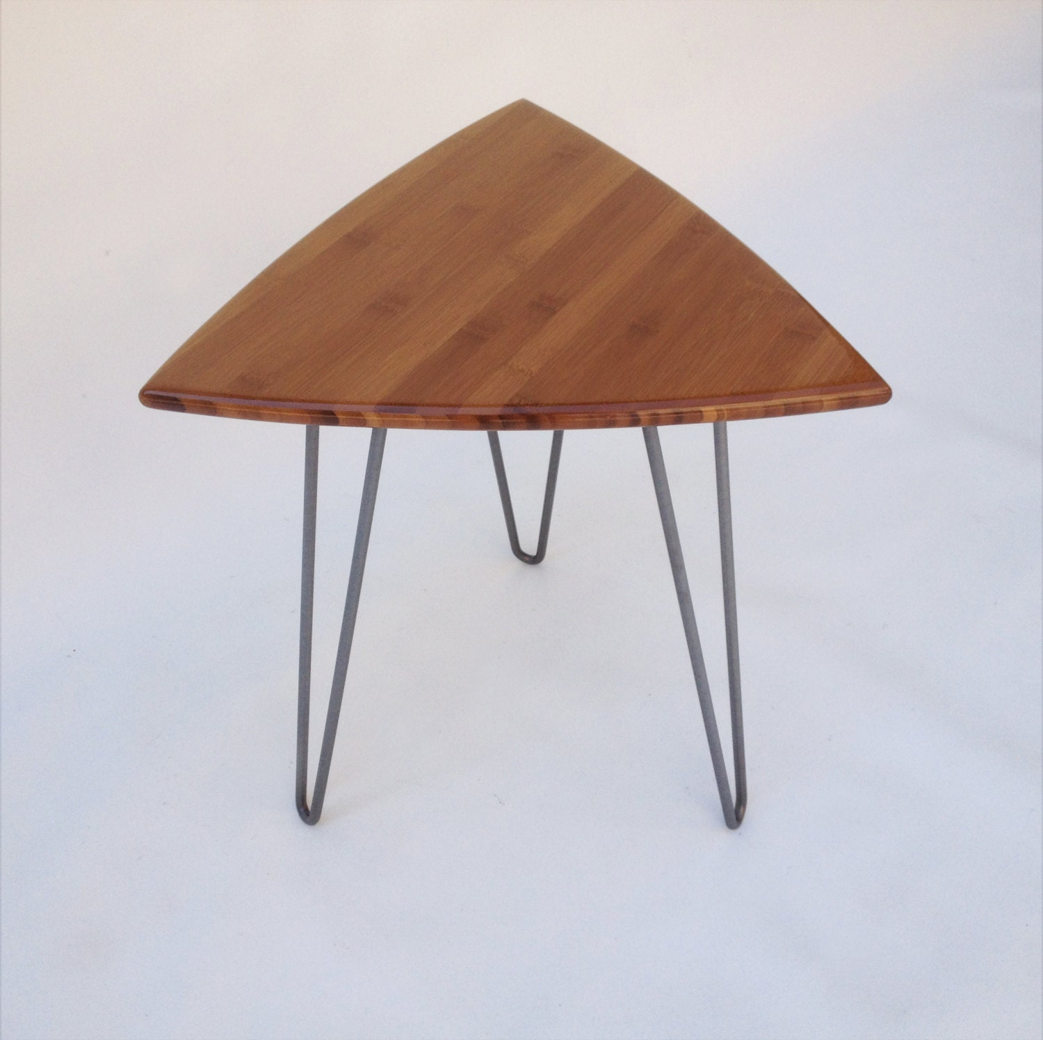 Guitar Pick Side Table Mid Century Modern Triangle Shaped End