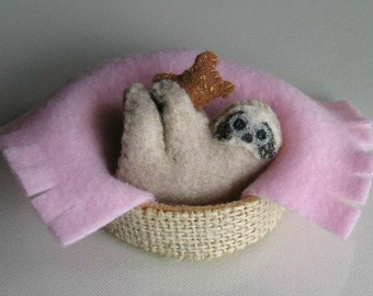 Sloth plush in basket with teddy bear and pink fleece blanket play set -rain forest animal toy