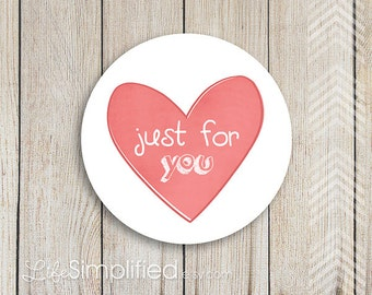 "Heart Stickers Any Occasion 2"" Circles - Just for You Thank You Stickers, set of 10"