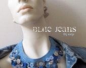 blue denim silver button necklace hand crocheted bib levi's vintage buttons