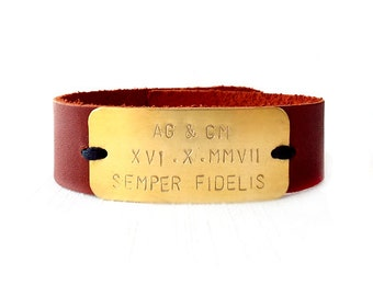 Leather Cuff Bracelet - Personalized Handstamped Brass Plate - Monogram Initials, Roman Numerals - Brown, Gold - The Basics: 20mm Strap