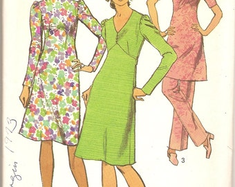 1970s Sewing Pattern - 1970s Empire Waist Dress Pattern - Simplicity 9357 - A line Dress - 70s  Pants Pattern - Uncut