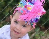 Bright Bunny Rabbit Chevron and Polkadot Over The Top Pink Purple Turquoise and Yellow Bow on matching Headband