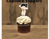 Gymnastics Friends- Set of 12 Brunette Pink Leotard Gymnast Cupcake Toppers by The Birthday House