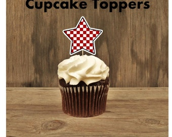 Rock Star Party - Set of 12 Checkered Star Cupcake Toppers by The Birthday House