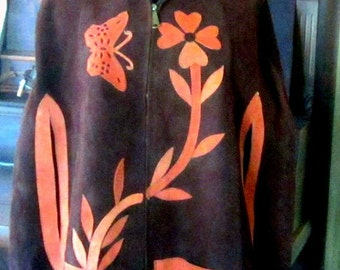 Vintage 70s Poncho Cape Suede with Appliqued Butterfly Flowers Butterflies Cape Shawl