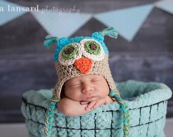 Owl Hat, Baby hat, Newborn Hat, Infant hat, Owl Costume, Hospital Hat, Knit Hat, Crochet Hat, Photo Prop, Baby Gift, Baby announcements