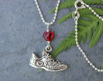 I love running necklace - sterling silver running shoe charm and little red heart on sterling ball chain - free shipping USA