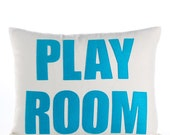 """PLAY ROOM -  recycled felt applique pillow 14"""" x 18"""" - more colors available"""