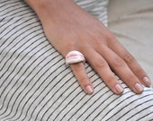porcelain silver ring | white and bright red porcelain || one of a kind piece of jewelry || made in Israel || Ceramic & Porcelain collection