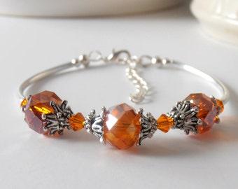 Orange Bridesmaid Jewelry, Orange Crystal Bracelet, Antiqued Silver, Crystal Wedding Jewelry, Orange Wedding Set, Beaded Bridesmaid Bracelet