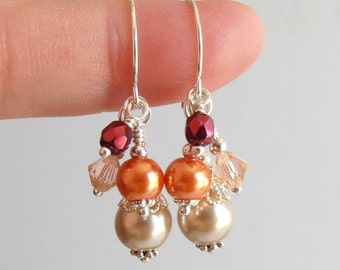 Orange and Burgundy Bridesmaid Earrings, Beaded Pearl Cluster Dangles, Autumn Wedding Jewelry, Bridesmaid Jewelry, Silver Plated or Sterling