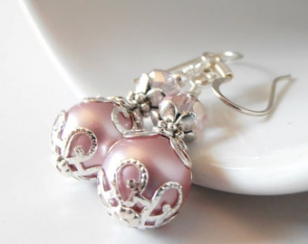 Pink Bridesmaid Jewelry, Pink Pearl Earrings, Wedding Jewelry, Bridesmaid Set, Beaded Earrings,  Bridesmaid Earrings, Pink and Silver