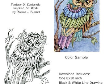 Moon Owl Fairy-Tangles Adult Coloring Book Printalbe Coloring