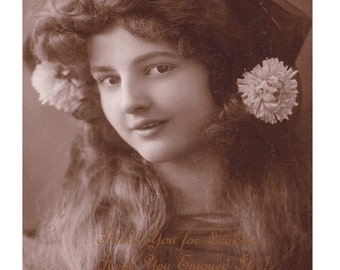 SaLE - Large Portrait of GORGEOUS Long Haired Edwardian Girl - Unidentified MAUDE FEALY As Teenager - Sepia Tint Vintage Real Photo Postcard