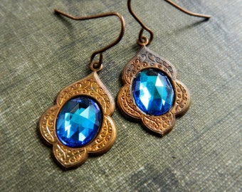 Peacock Blue Earrings. Morrocan Inspired Blue Earrings.  Bohemian Jewelry.