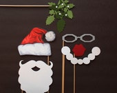 Santa and Mrs. Claus Phto Booth Props. Holiday Photos. Photobooth Props