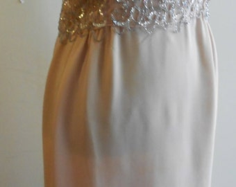 "1970's, 38"" bust, blush pink, long straight, silk chiffon grown, with a crystal and sequins top"
