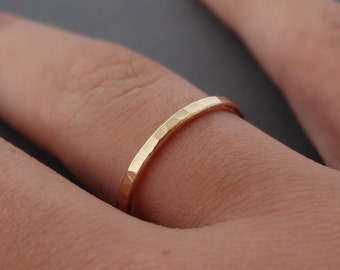 Gold Ring Thin Gold Ring Stacking Ring hammered stackable rings minimalist jewelry
