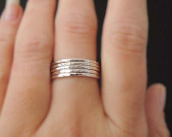 5 Sterling Silver Rings stacking ring 16 gauge set of five hammered stacking rings . choose your size