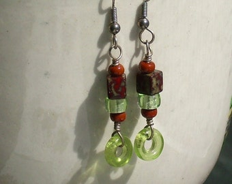 Vintage Glass Lime Green Brick Red Earrings