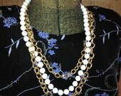 White Pearl and Chain Triple Strand 1980s Necklace