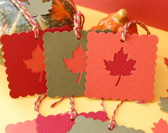 Fall Leaves Scalloped Square Tags -- Set of 6 tags -- Ready to Ship
