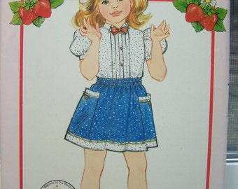 Butterick 4826 Girl's Pattern SALE Strawberry Shortcake Fashion Pattern Girl's Collared Blouse Bow Tie Flared Skirt with Pockets Size 5 - 6X